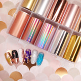 Nail Art Foil Box Set / 10 Designs / Ultimate Metallics Rose Gold Silver Holographic