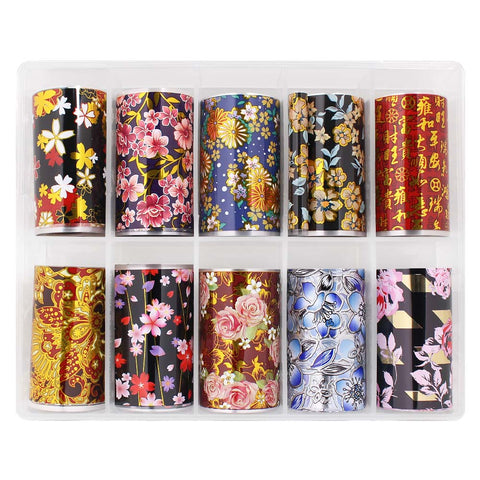 Nail Art Foil Box Set / 10 Designs / Prosperous Embroidery Chinese Lunar New Year Nail