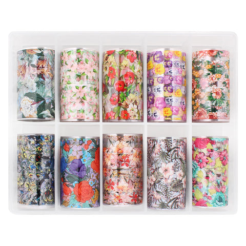Nail Art Foil Box Set / 10 Designs / Summer Blossoms