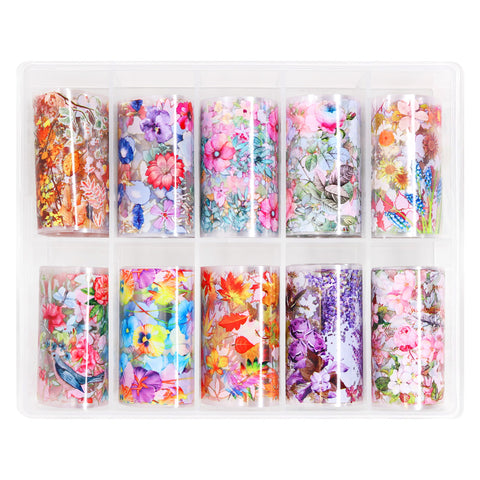 Nail Art Foil Box Set / 10 Designs / Botanical Paradise