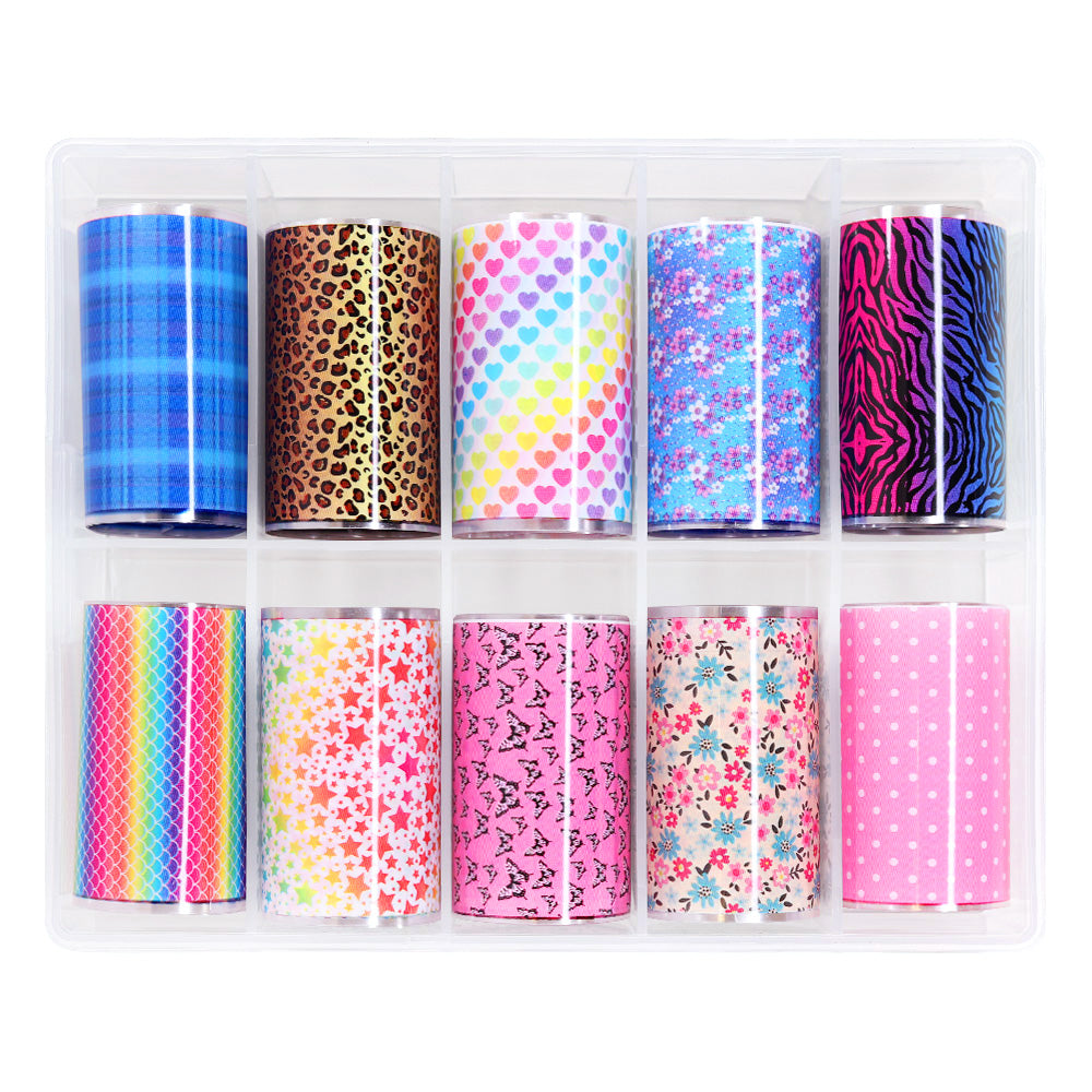 Nail Art Foil Box Set / 10 Designs / Rainbow Pop