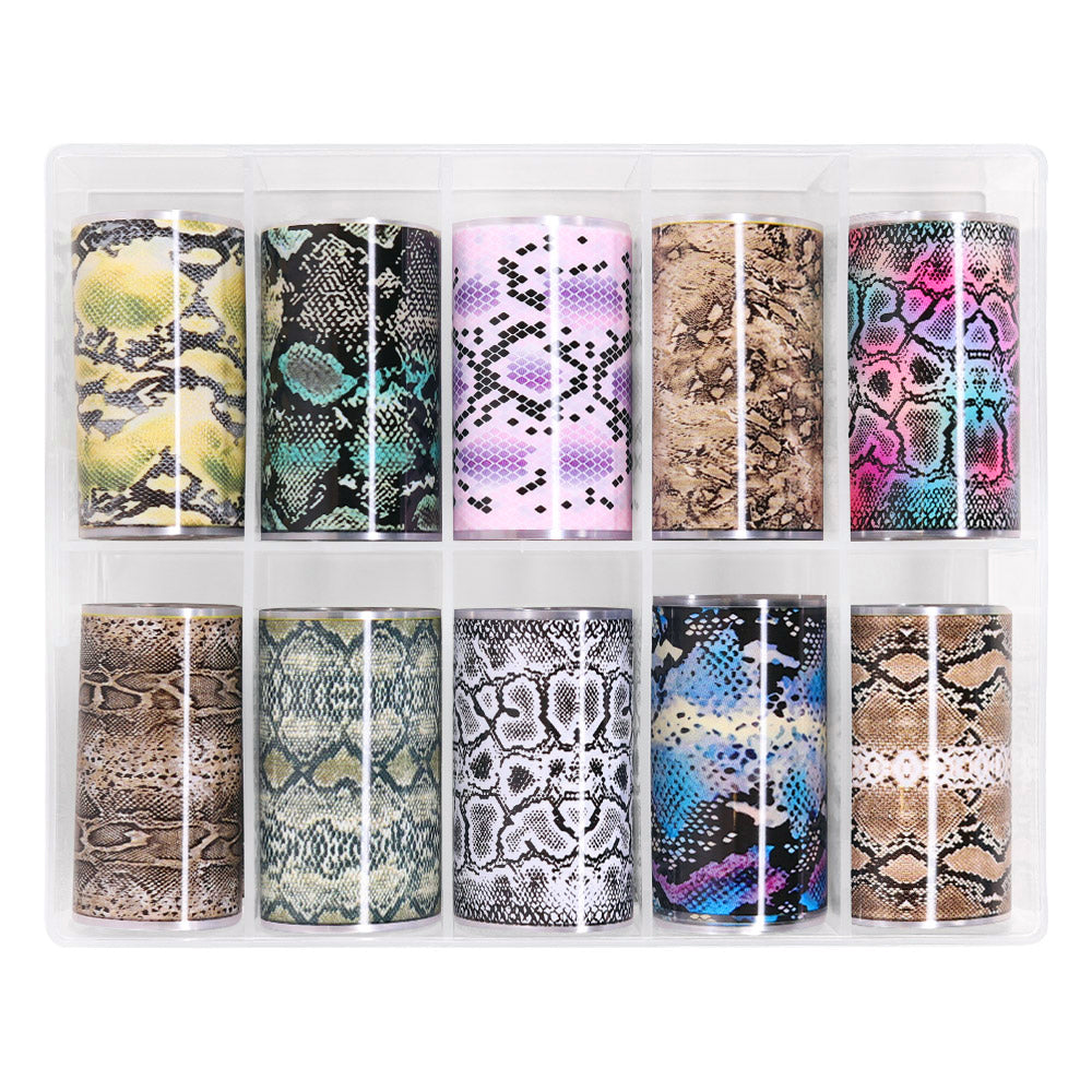 Nail Art Foil Box / Exotic Pythons Snakeskin Nail Design
