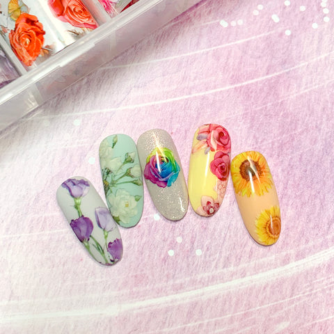 Nail Art Foil Box / Flower Language Bold Spring Pink Sunflower Daisy Nail