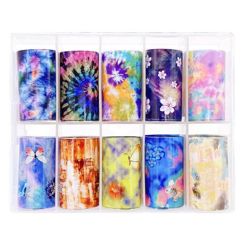 Daily Charme Nail Art Foil Box Vibrant Tie Dye Butterfly Summer  Nail
