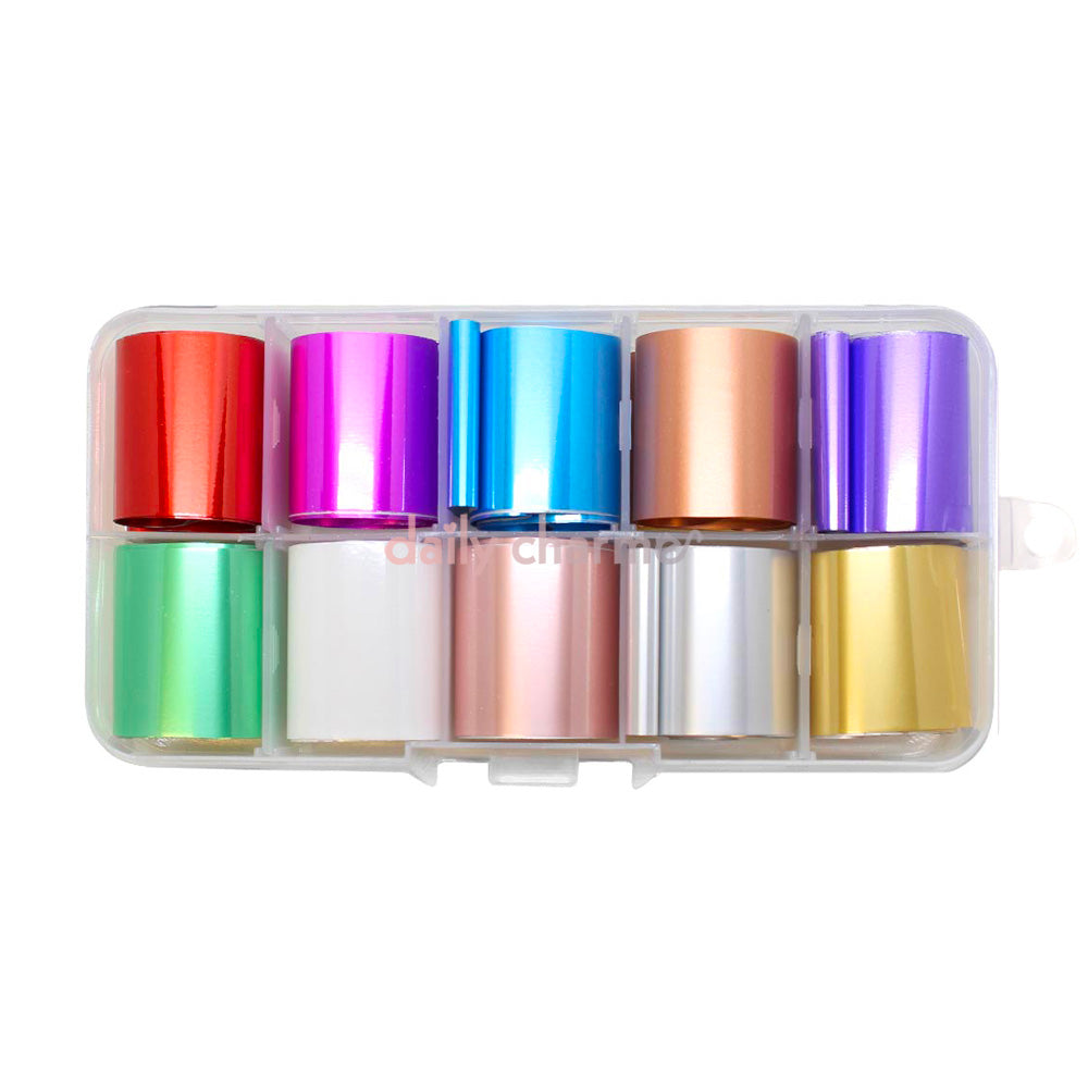 Nail Art Foil Box Set / 10 Colors / Matte Metallic