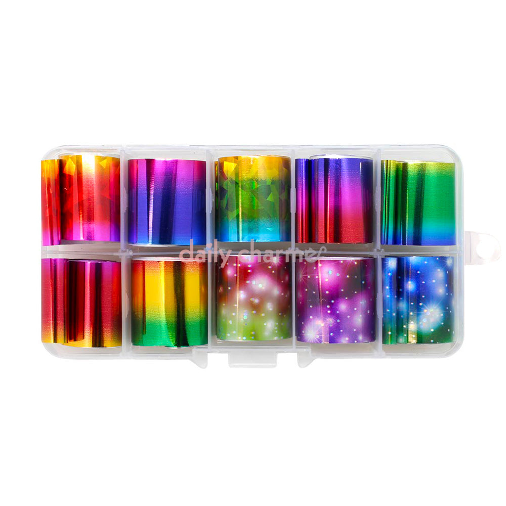 Nail Art Foil Box Set / 10 Colors / Rainbow Galaxy Colorful Ombre