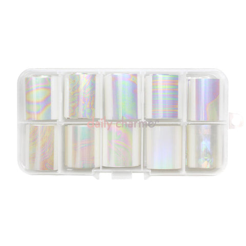 Nail Art Foil Box Set / 10 Colors / Iridescent Pearl Oil Spill Rainbow Nails