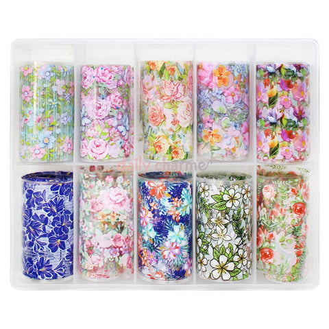 Nail Art Foil Box Set / 10 Designs / Spring Flowers Floral Nail Art