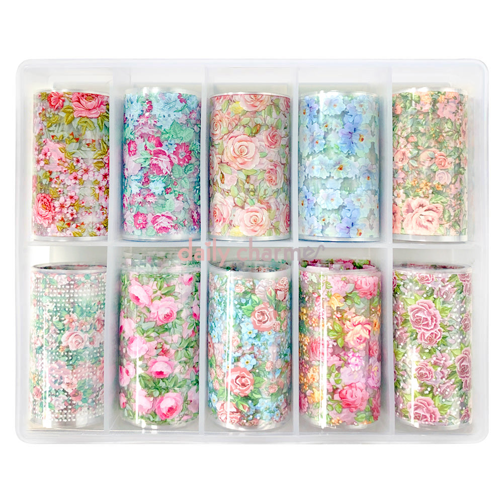 Daily Charme Nail Art Floral Transfer Foils / Victorian Gardens Roses