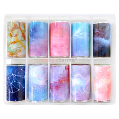 Daily Charme Nail Art Pastel Galaxy Marble Watercolor Transfer Foils
