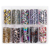 Nail Art Foil Box Set / 10 Designs / Leopard Print Pink Rainbow Rose