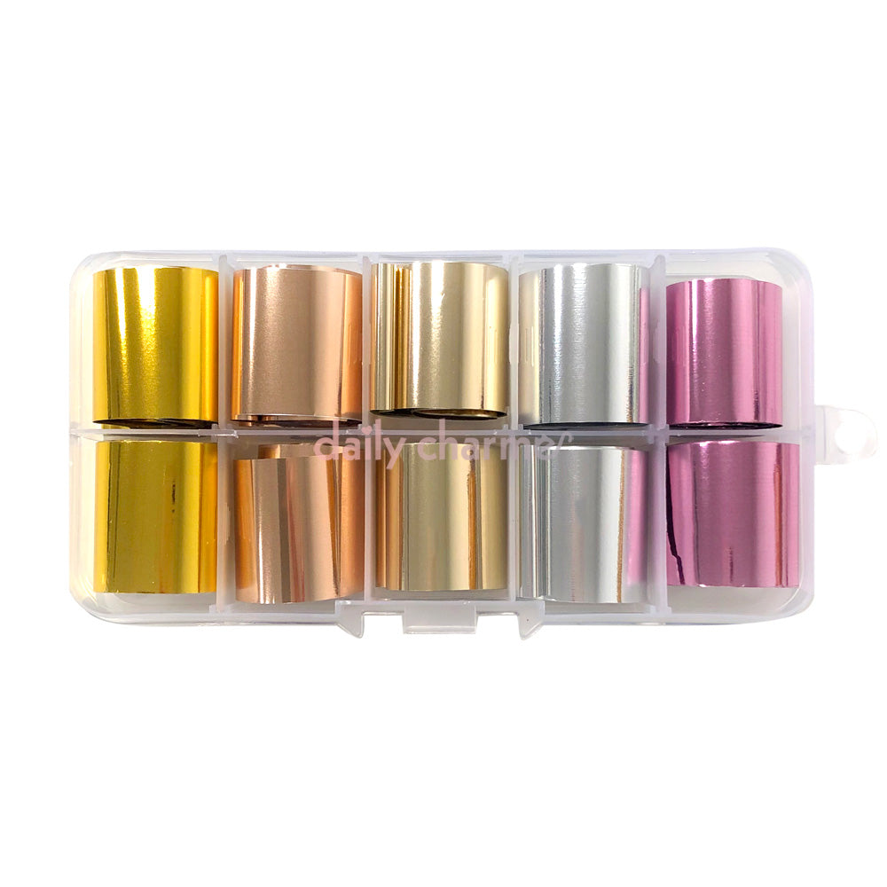 Nail Art Foil Box Set / 5 Colors / Metallic Pink Gold Champagne Silver Rose Gold