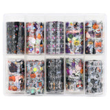 Nail Art Foil Box Set / 10 Designs / Halloween Party Spider Webs Skull Pumpkins Black Cat Witch