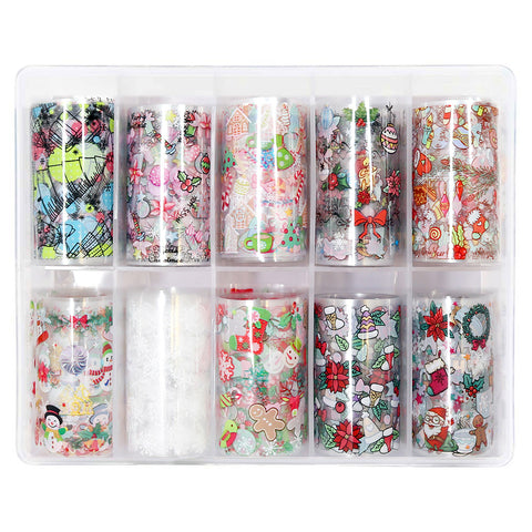 Nail Art Foil Box Set / 10 Designs / Festive Holiday Christmas Cute Nails