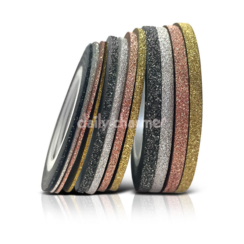 Essential Tool Decoration Thick Glitter Nail Art Tapes Gold Silver Rose Gold Black