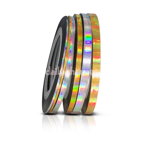 Gold Silver Holographic Nail Art Tapes 1MM 2MM 3MM