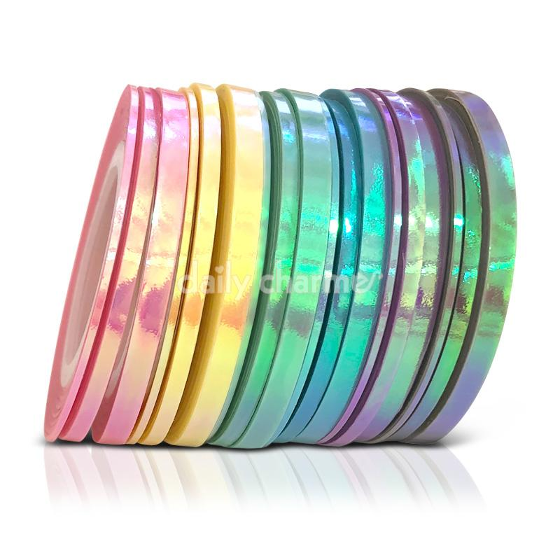 Pastel Rainbow Iridescent Nail Art Tape Set