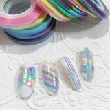 Essential Tool Decoration Pastel Rainbow Iridescent AB Nail Art Tapes 1MM 2MM 3MM