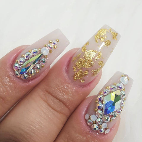 Nail Decor - Gold Foil Flakes Samples Swarovski Crystal Nails