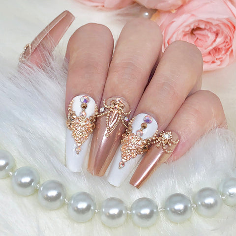 Rose Gold Metallic Caviar Beads for DIY nail art or caviar nails
