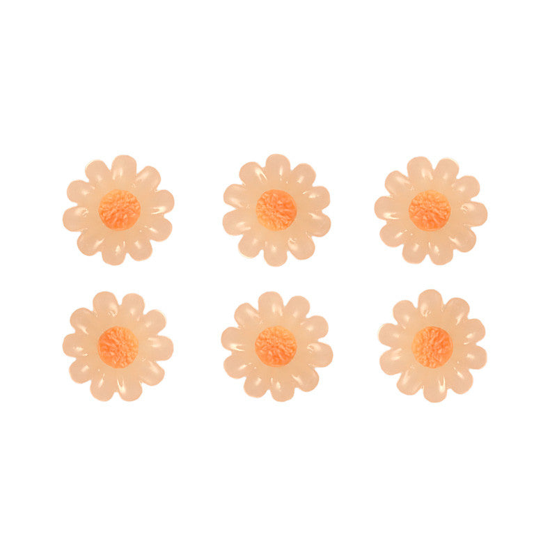 Nail Art Supply 3D Resin - Orange Daisy / Cabochon