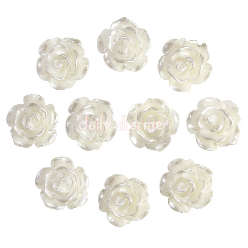 Nail Art Delicate Roses / Ivory Pearl / 6MM / 8MM Wedding Nails Decoration