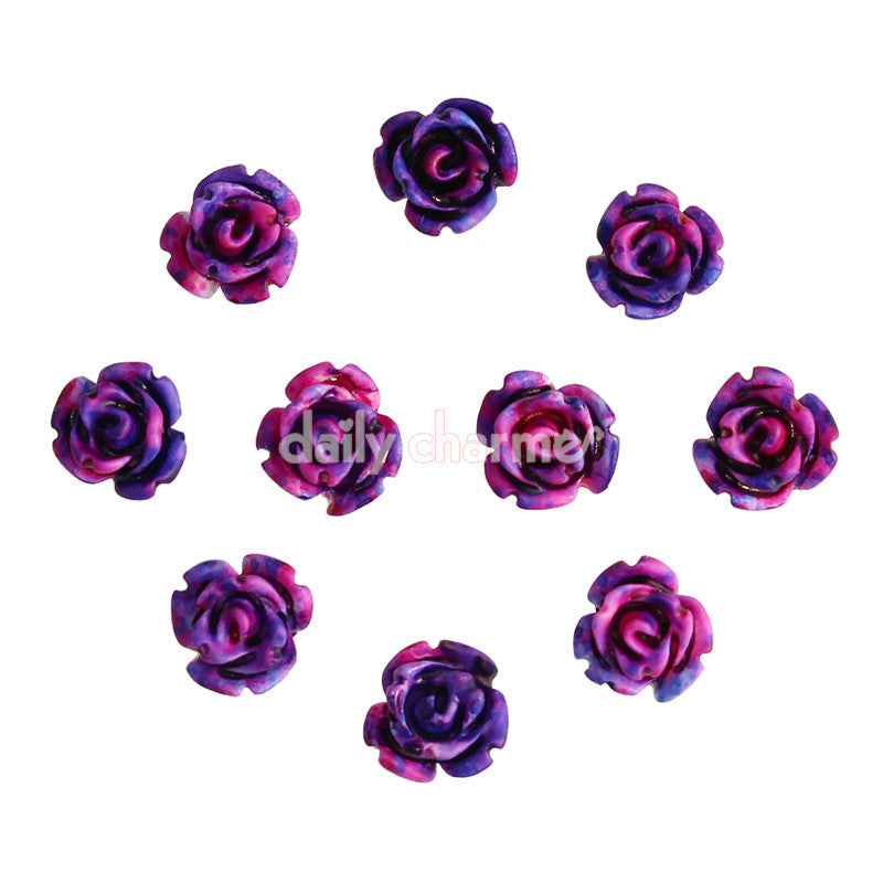 Nail Art Decor Delicate Roses Flower / Purple / 6MM Spring Nails