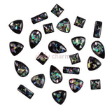 Crushed Shell Gems Flatback Black Nail Art Rectangle Square Triangle Teardrop