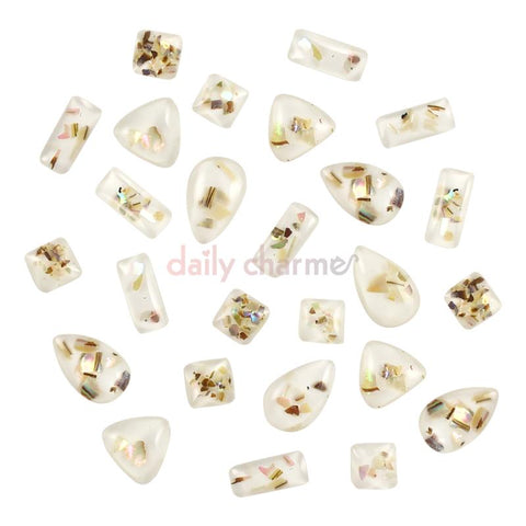 Crushed Shell Gems Flatback Ivory Nail Art Rectangle Square Triangle Teardrop