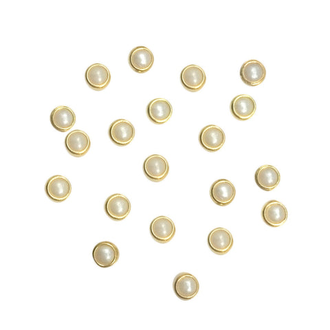 Gold Framed Pearl / Ivory / 4mm