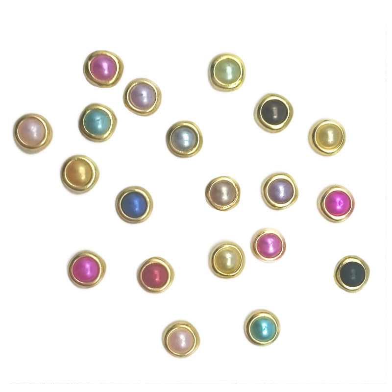Gold Framed Pearl / Assorted Colors / 4mm