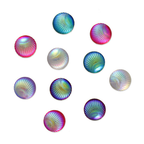 Colorful AB Seashell Cabochon / Round