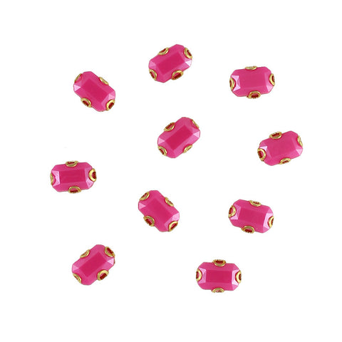 Cabochon With Setting / Rectangle / Fuchsia / Nail Art Supplies Decoration Gem DIY