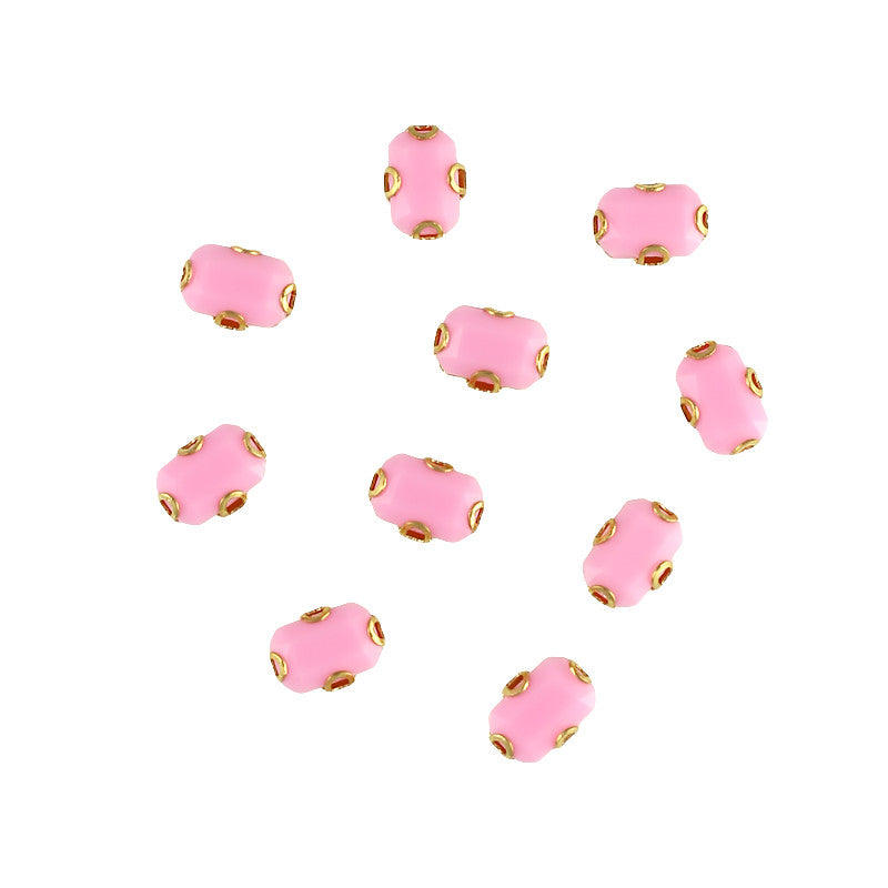 Cabochon With Setting / Rectangle / Pink / Nail Art Supplies Decoration Gem DIY