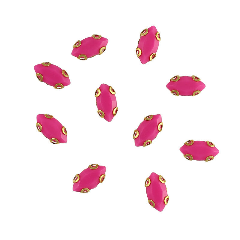 Cabochon With Setting / Marquise / Fuchsia / Nail Art Supplies Decoration Gem DIY