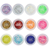 Colorful Mixed Hex Powder Glitter Set / 12 Jars