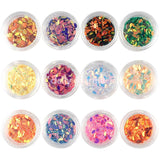 Colorful Iridescent AB Marquise Glitter Set / 12 Jars