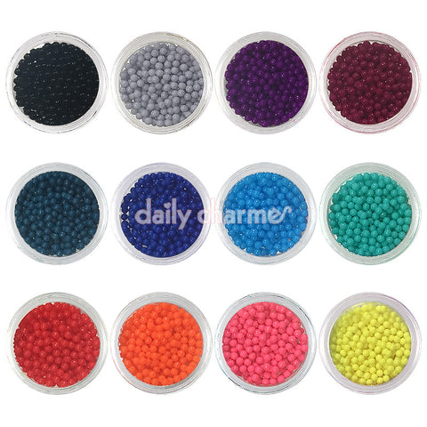 Colorful Rich Bohemian Bullion Beads / 2MM / 12 Jars Daily Charme Nail Art Decorations