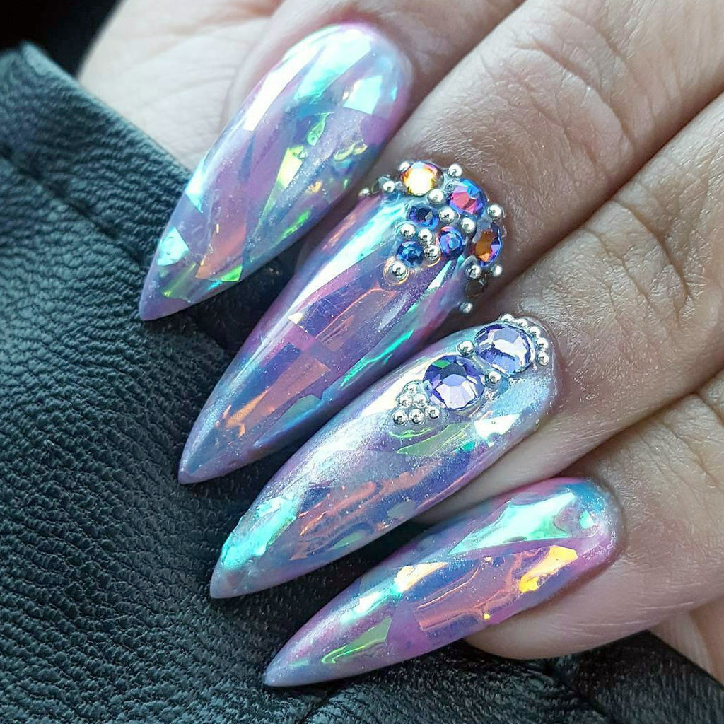 Dreamy Opalescent Glass Film Angel Paper Nails Daily Charme
