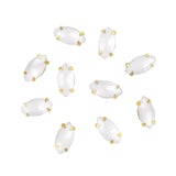 3D Bling Nail Art Gem Rhinestone Gold Setting Marquise White Opal