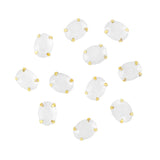 Japanese Nail Art Rhinestone With Gold Setting Oval White Opal