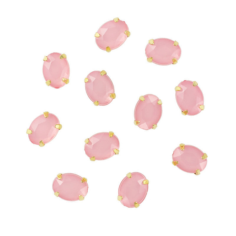 3D Bling Nail Art Gem Rhinestone With Gold Setting Oval Pink Opal