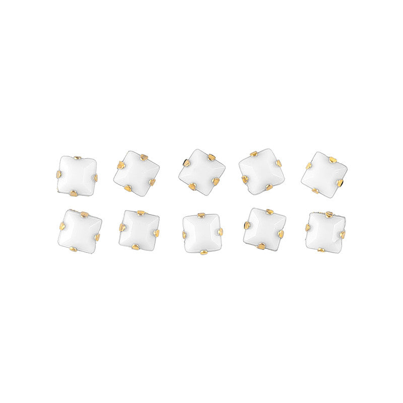 Opaque Square Rhinestone With Gold Setting White Nail Art Decoration