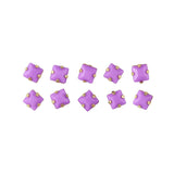 Opaque Square Rhinestone With Gold Setting / Purple Nail Art Supplies