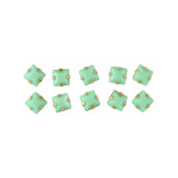 Opaque Square Rhinestone With Gold Setting Mint Green Nail Art Supplies