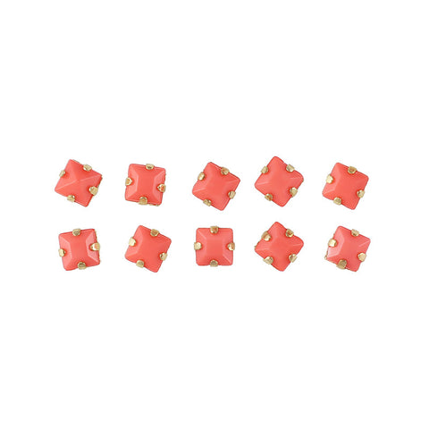 Opaque Square Rhinestone With Gold Setting Coral Red Nail Art Supplies