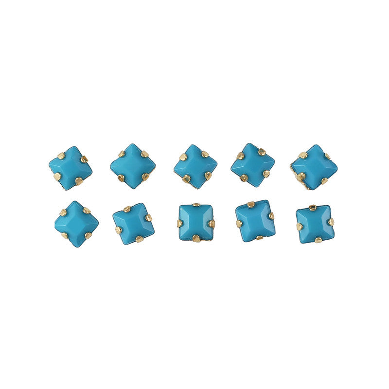Opaque Square Rhinestone With Gold Setting Turquoise Nail Art 3D