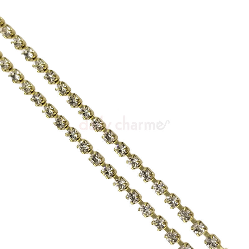 Nail Art Rhinestone Cup Chain with Preciosa Crystals / Brass Chain / Clear Crystal