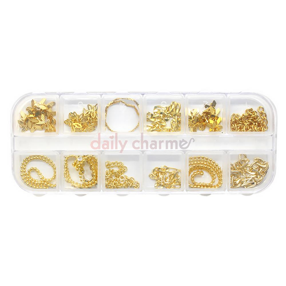 Gold Metallic Chains Set / 12 Designs Nail Art Decorations