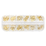 Nail Art Gold Metal Frames Mix Box Set / 12 Shapes